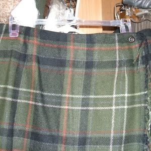 Worthington long wool blend plaid skirt 12T olive